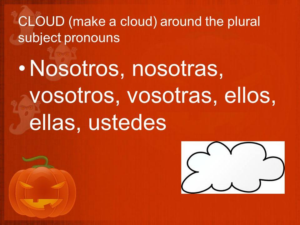 CLOUD (make a cloud) around the plural subject pronouns Nosotros, nosotras, vosotros, vosotras, ellos, ellas, ustedes
