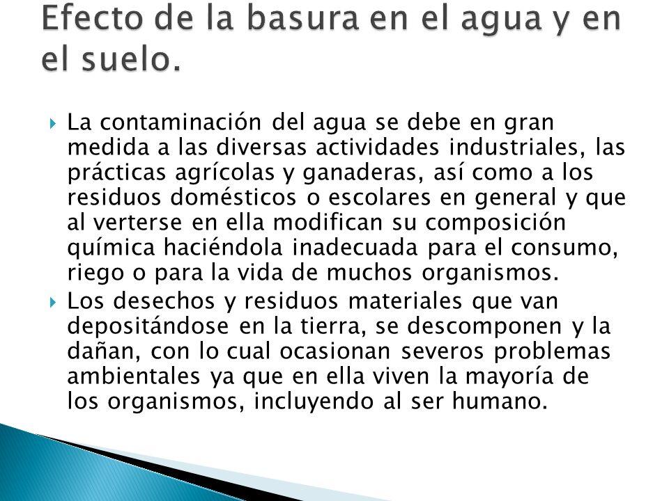 La contaminación del agua se debe en gran medida a las diversas actividades industriales, las prácticas agrícolas y ganaderas, así como a los residuos