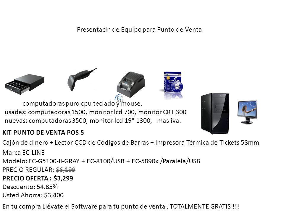 KIT PUNTO DE VENTA POS 5 Cajón de dinero + Lector CCD de Códigos de Barras + Impresora Térmica de Tickets 58mm Marca EC-LINE Modelo: EC-G5100-II-GRAY + EC-8100/USB + EC-5890x /Paralela/USB PRECIO REGULAR: $6,199 PRECIO OFERTA : $3,299 Descuento: 54.85% Usted Ahorra: $3,400 En tu compra Llévate el Software para tu punto de venta, TOTALMENTE GRATIS !!.