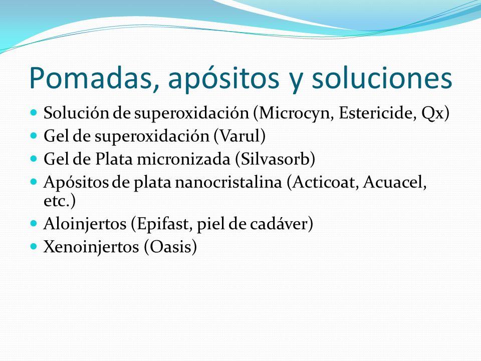 Pomadas, apósitos y soluciones Solución de superoxidación (Microcyn, Estericide, Qx) Gel de superoxidación (Varul) Gel de Plata micronizada (Silvasorb