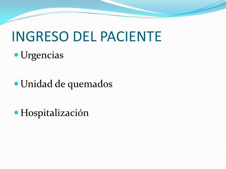 INGRESO DEL PACIENTE Urgencias Unidad de quemados Hospitalización