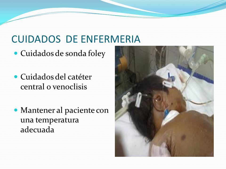 CUIDADOS DE ENFERMERIA Cuidados de sonda foley Cuidados del catéter central o venoclisis Mantener al paciente con una temperatura adecuada