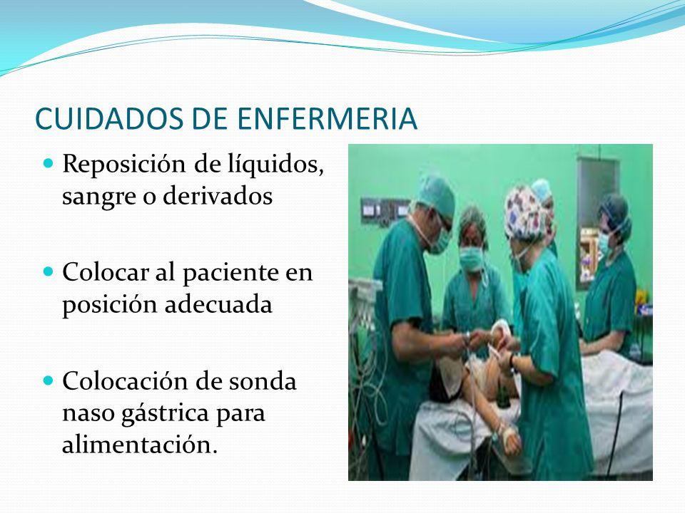 CUIDADOS DE ENFERMERIA Reposición de líquidos, sangre o derivados Colocar al paciente en posición adecuada Colocación de sonda naso gástrica para alim