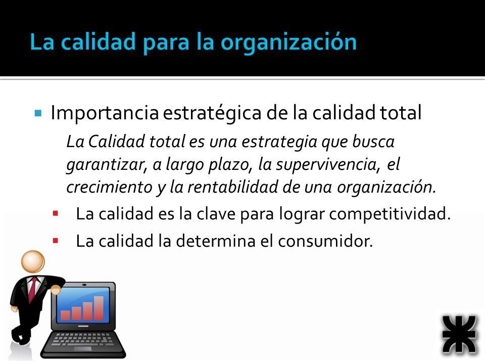 Importancia estratégica de la calidad total La Calidad total es una estrategia que busca garantizar, a largo plazo, la supervivencia, el crecimiento y la rentabilidad de una organización.