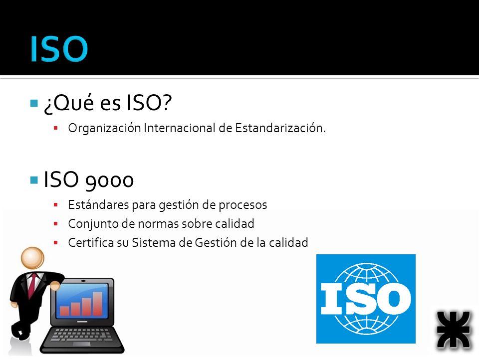 ISO ¿Qué es ISO? Organización Internacional de Estandarización. ISO 9000 Estándares para gestión de procesos Conjunto de normas sobre calidad Certific