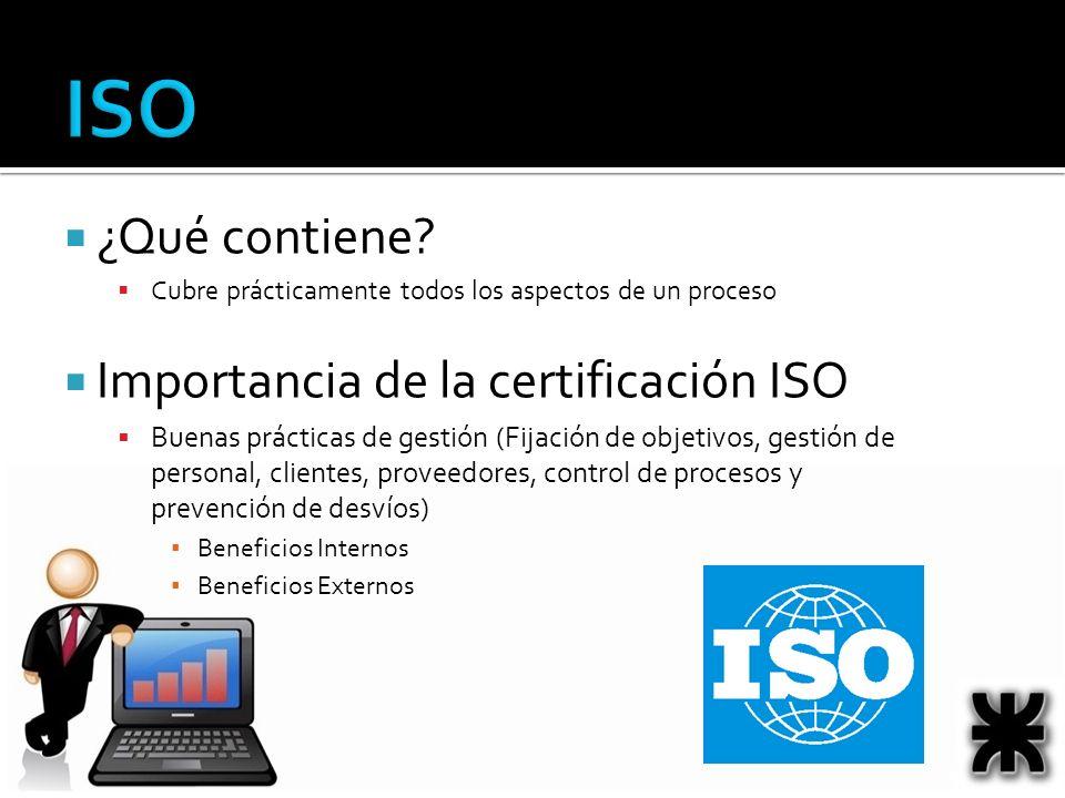 ISO ¿Qué contiene? Cubre prácticamente todos los aspectos de un proceso Importancia de la certificación ISO Buenas prácticas de gestión (Fijación de o