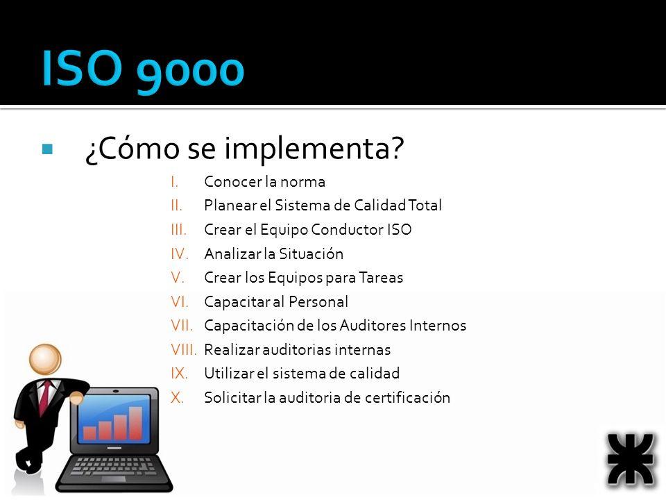 ISO 9000 ¿Cómo se implementa? I.Conocer la norma II.Planear el Sistema de Calidad Total III.Crear el Equipo Conductor ISO IV.Analizar la Situación V.C