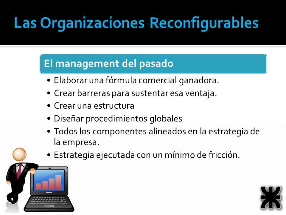 El management del pasado Elaborar una fórmula comercial ganadora. Crear barreras para sustentar esa ventaja. Crear una estructura Diseñar procedimient