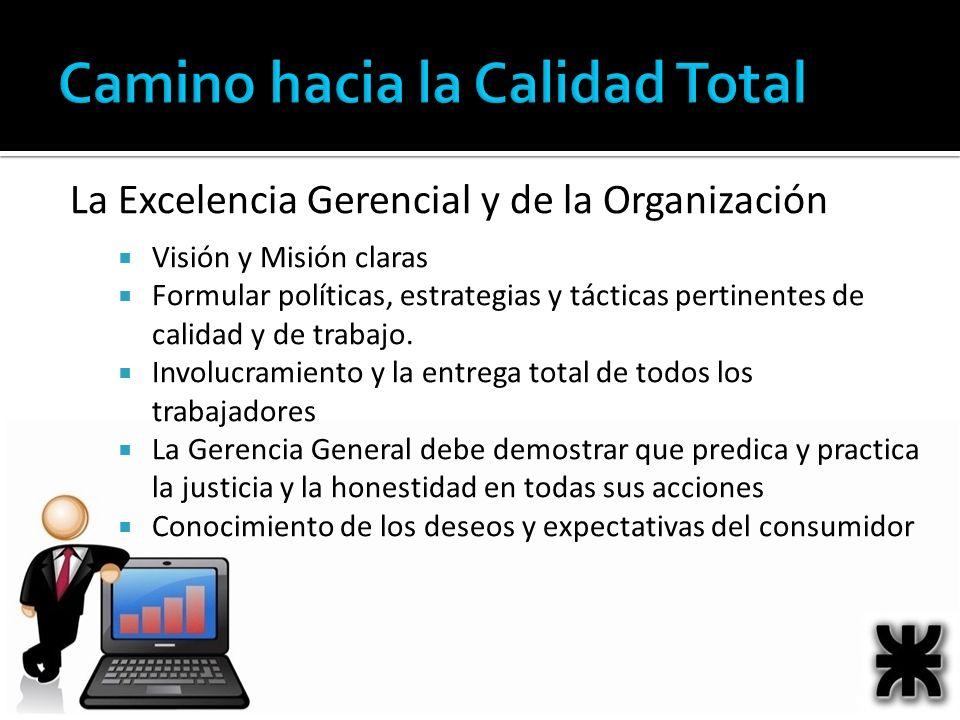 La Excelencia Gerencial y de la Organización Visión y Misión claras Formular políticas, estrategias y tácticas pertinentes de calidad y de trabajo. In