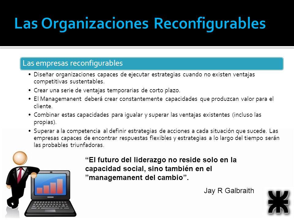 El futuro del liderazgo no reside solo en la capacidad social, sino también en el managemanent del cambio. Jay R Galbraith Las empresas reconfigurable