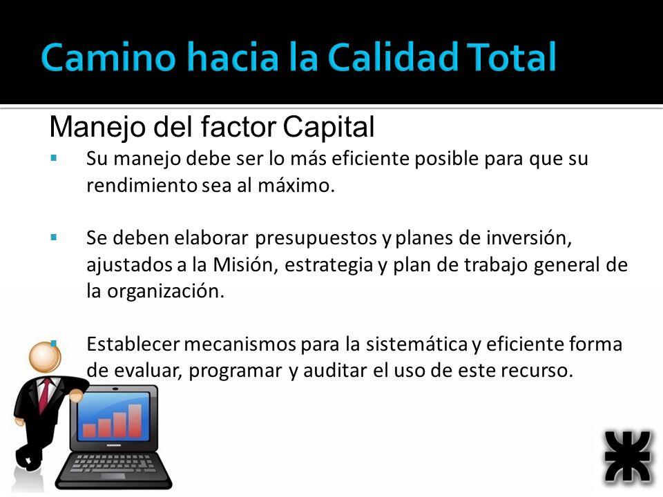 Manejo del factor Capital Su manejo debe ser lo más eficiente posible para que su rendimiento sea al máximo. Se deben elaborar presupuestos y planes d