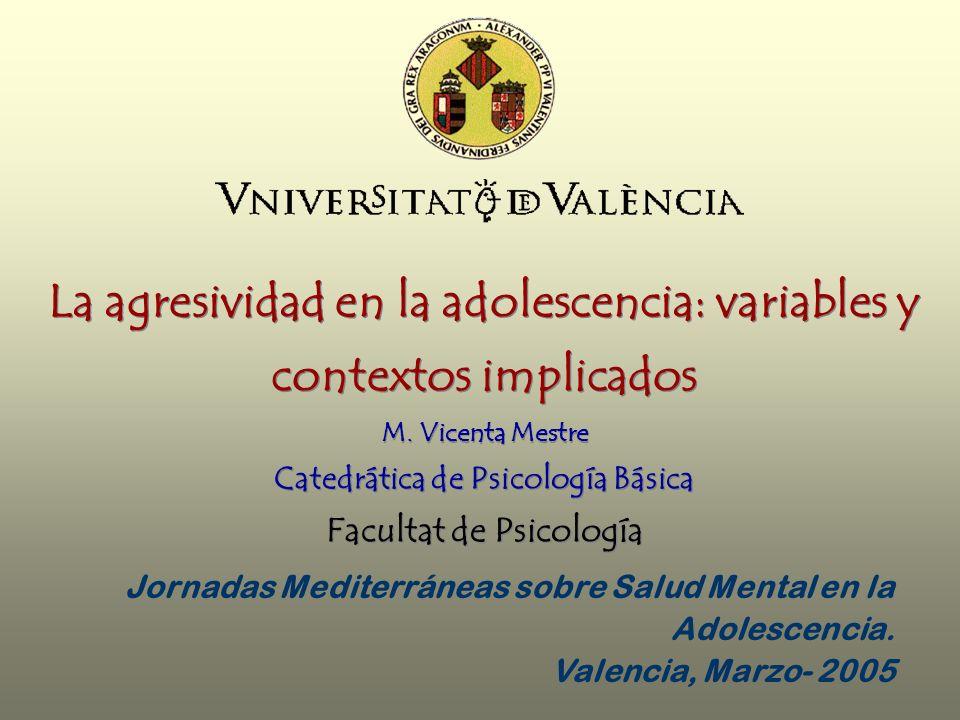 La agresividad en la adolescencia: variables y contextos implicados M. Vicenta Mestre Catedrática de Psicología Básica Facultat de Psicología Jornadas