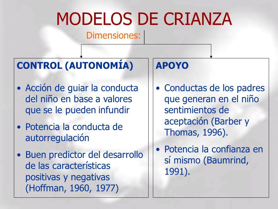 MODELOS DE CRIANZA CONTROL (AUTONOMÍA) Acción de guiar la conducta del niño en base a valores que se le pueden infundir Potencia la conducta de autorr