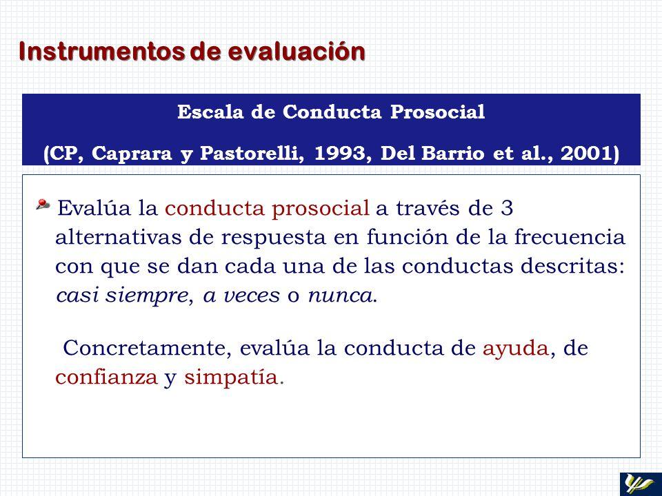 Instrumentos de evaluación Escala de Conducta Prosocial (CP, Caprara y Pastorelli, 1993, Del Barrio et al., 2001) Evalúa la conducta prosocial a travé