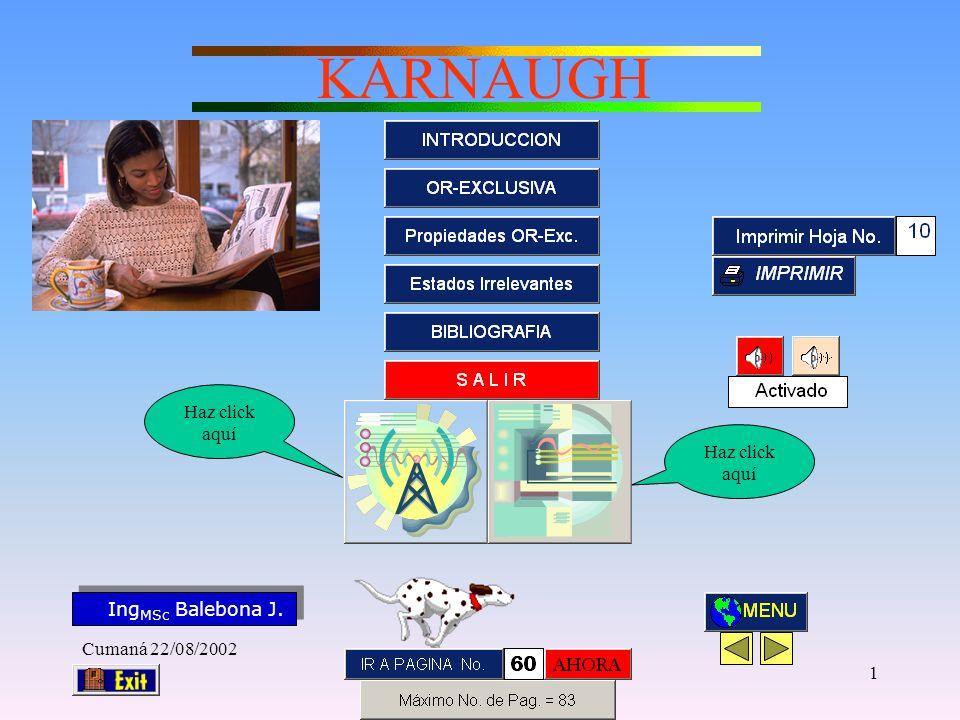 Ing MSc Balebona J. KARNAUGH Cumaná 22/08/2002 11