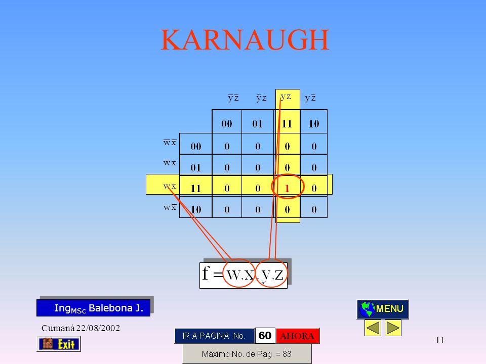 Ing MSc Balebona J. KARNAUGH Cumaná 22/08/2002 10