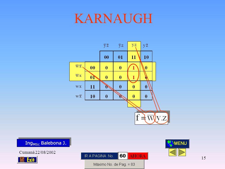 Ing MSc Balebona J. KARNAUGH Cumaná 22/08/2002 14