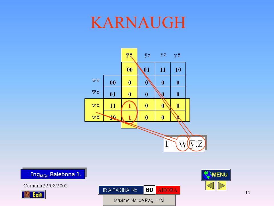 Ing MSc Balebona J. KARNAUGH Cumaná 22/08/2002 16