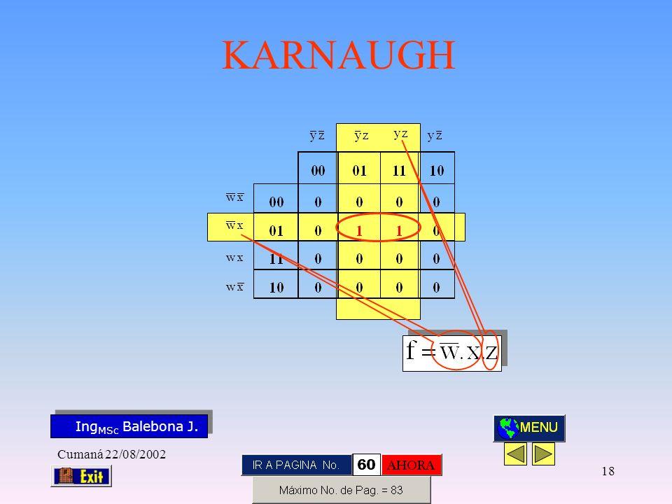Ing MSc Balebona J. KARNAUGH Cumaná 22/08/2002 17
