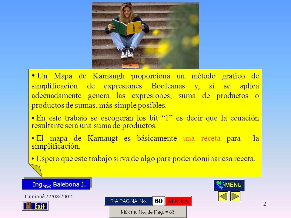 Ing MSc Balebona J. KARNAUGH Cumaná 22/08/2002 12