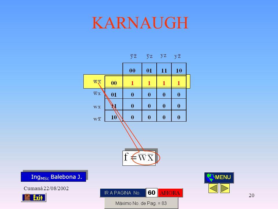 Ing MSc Balebona J. KARNAUGH Cumaná 22/08/2002 19
