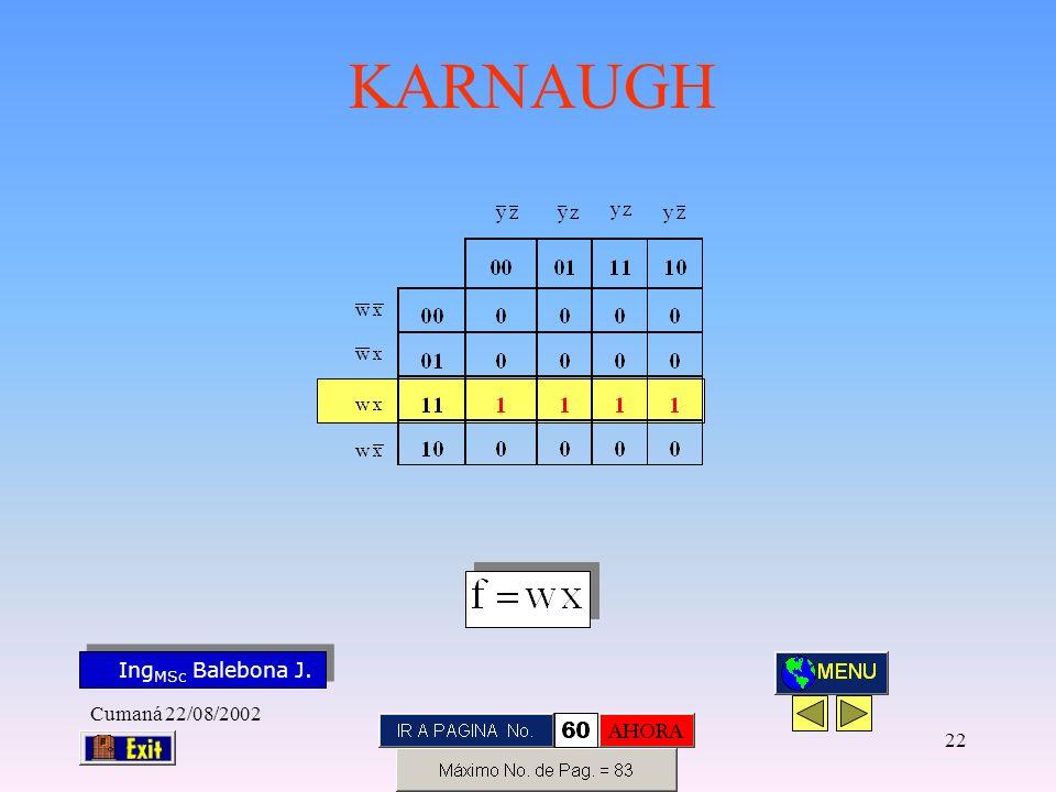 Ing MSc Balebona J. KARNAUGH Cumaná 22/08/2002 21
