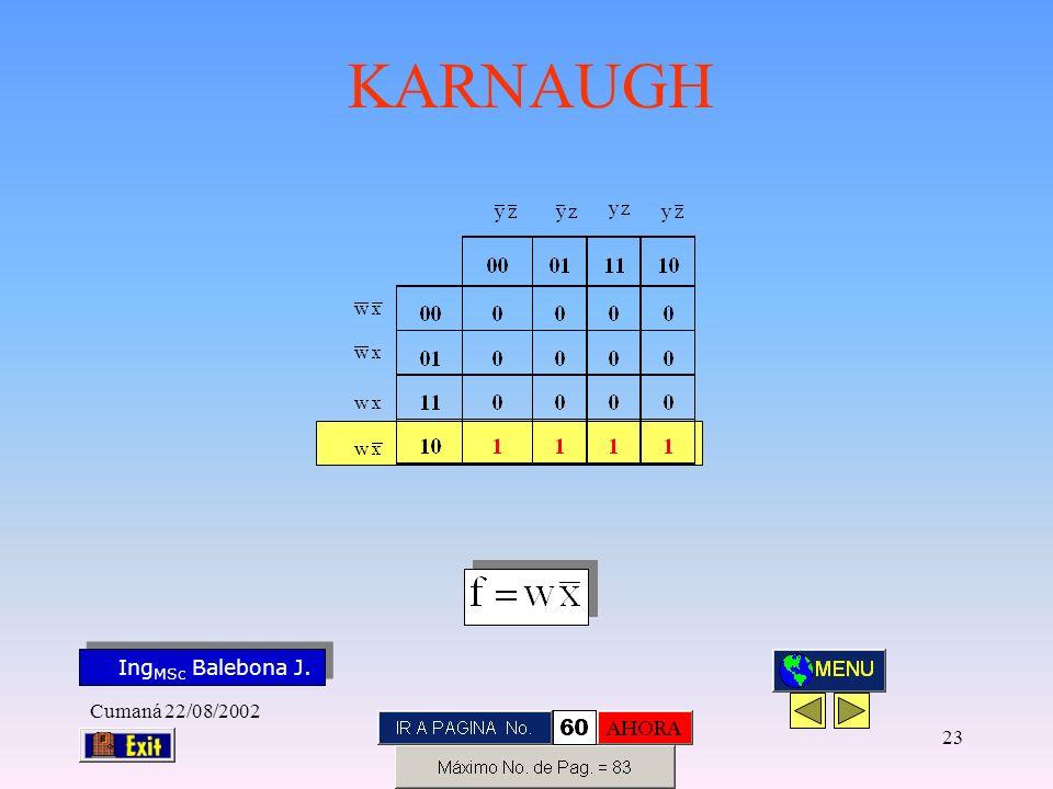 Ing MSc Balebona J. KARNAUGH Cumaná 22/08/2002 22