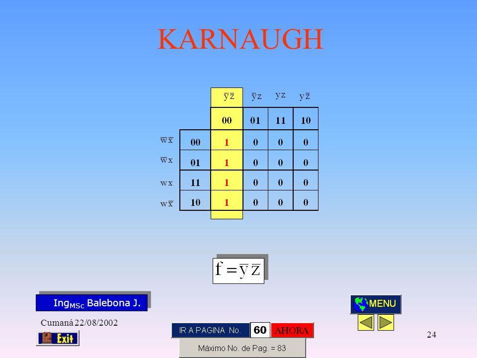 Ing MSc Balebona J. KARNAUGH Cumaná 22/08/2002 23