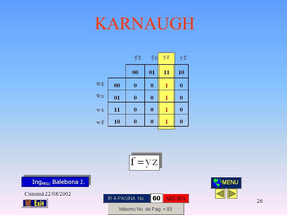 Ing MSc Balebona J. KARNAUGH Cumaná 22/08/2002 25