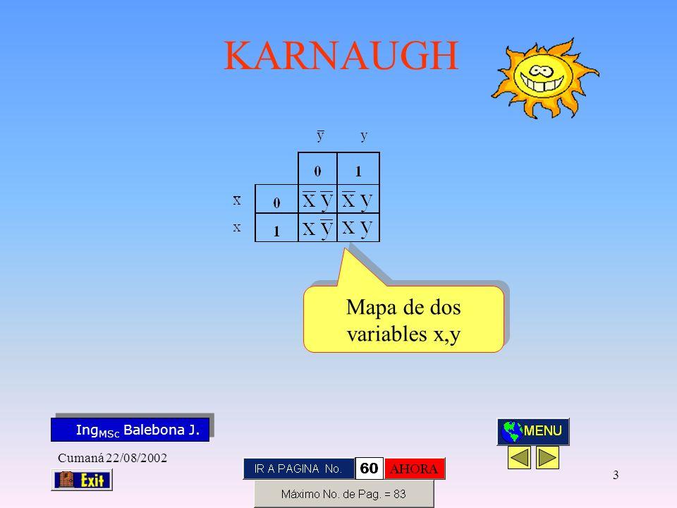 Ing MSc Balebona J. KARNAUGH Cumaná 22/08/2002 73