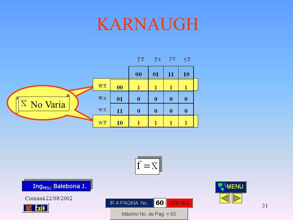 Ing MSc Balebona J. KARNAUGH Cumaná 22/08/2002 30 No Varia