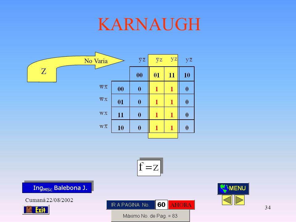 Ing MSc Balebona J. KARNAUGH Cumaná 22/08/2002 33 N o V a r i a