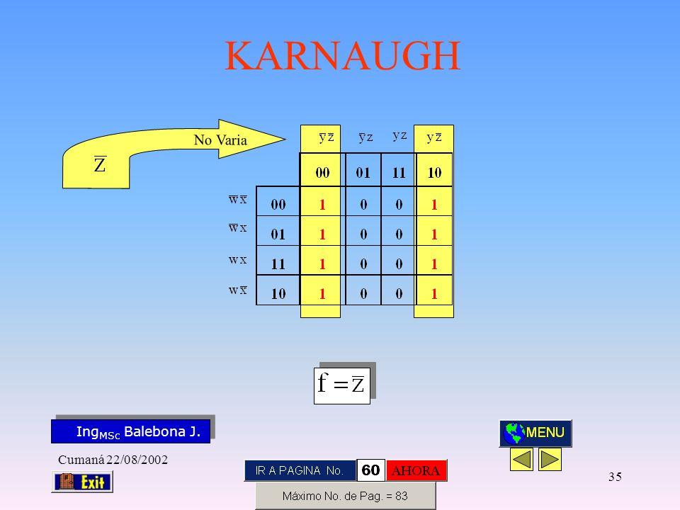 Ing MSc Balebona J. KARNAUGH Cumaná 22/08/2002 34 N o V a r i a