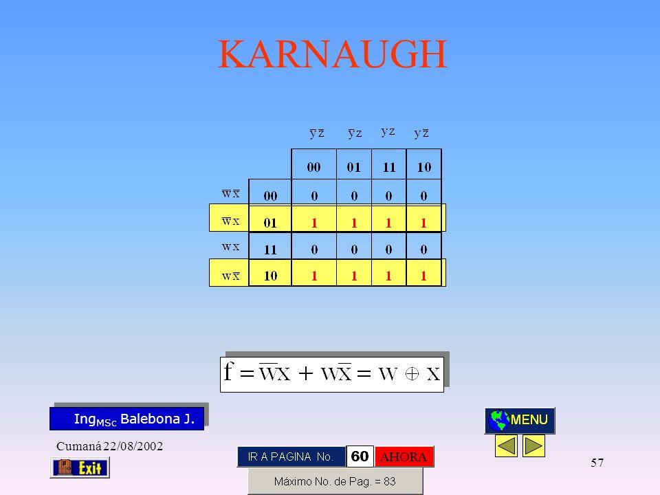 Ing MSc Balebona J. KARNAUGH Cumaná 22/08/2002 56