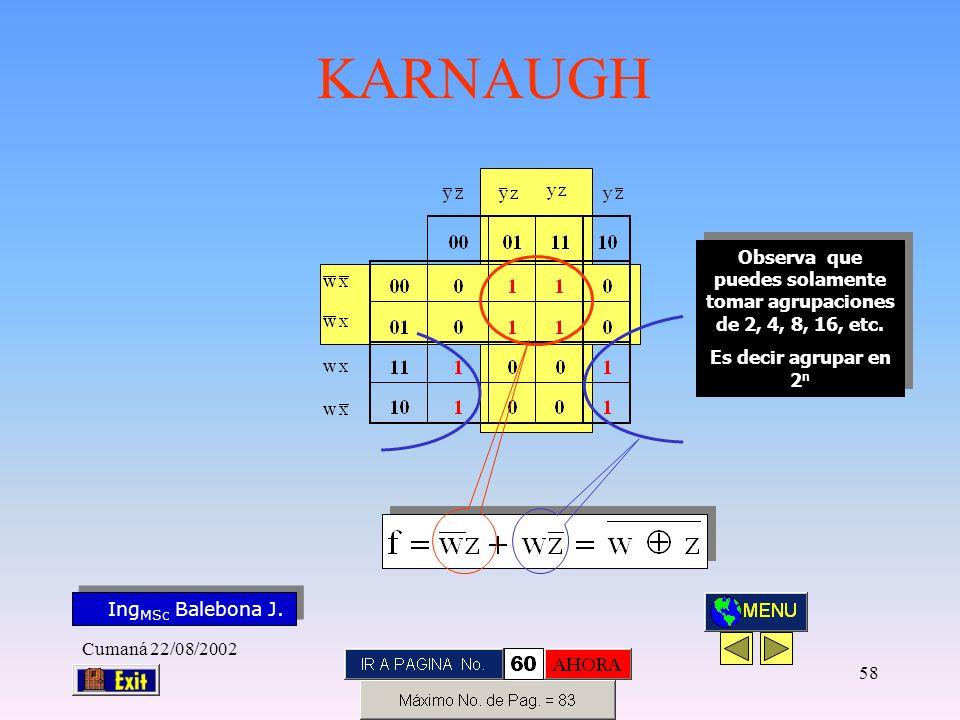 Ing MSc Balebona J. KARNAUGH Cumaná 22/08/2002 57