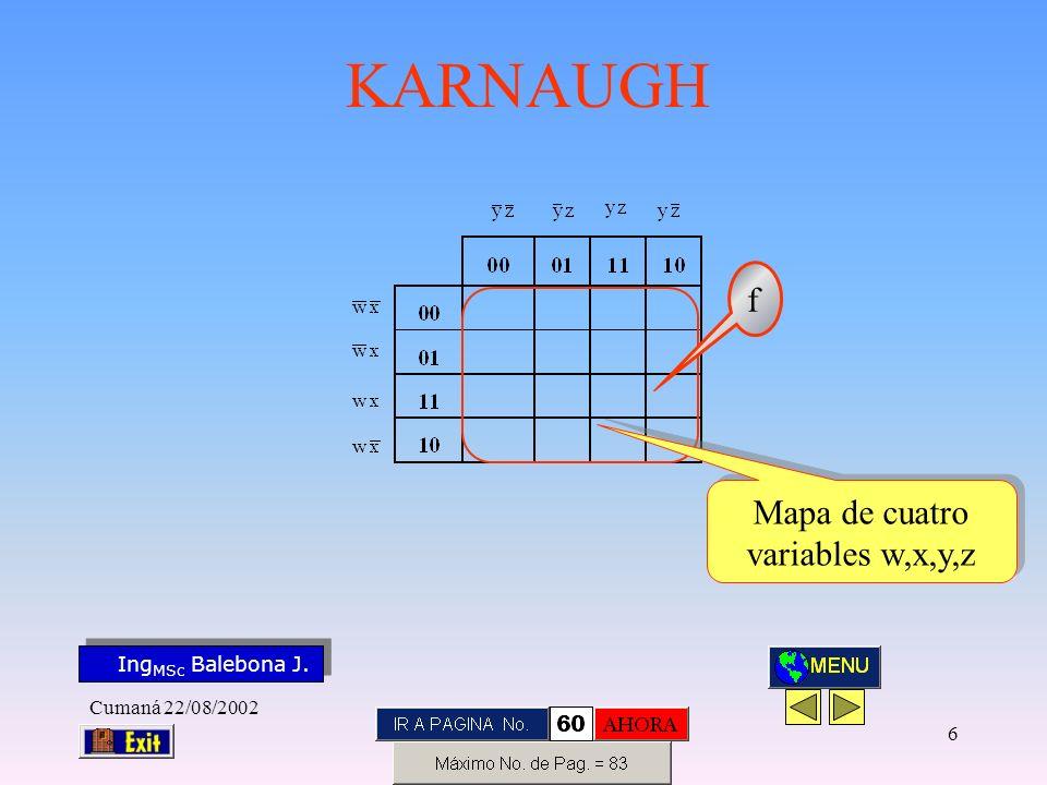 Ing MSc Balebona J. KARNAUGH Cumaná 22/08/2002 6 f Mapa de cuatro variables w,x,y,z