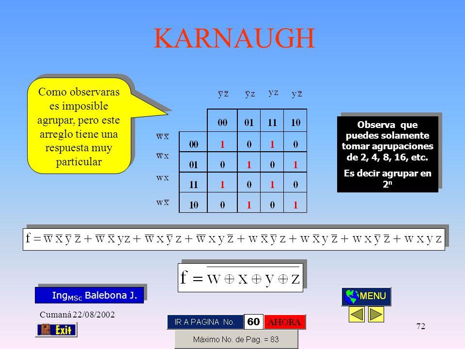 Ing MSc Balebona J. KARNAUGH Cumaná 22/08/2002 71