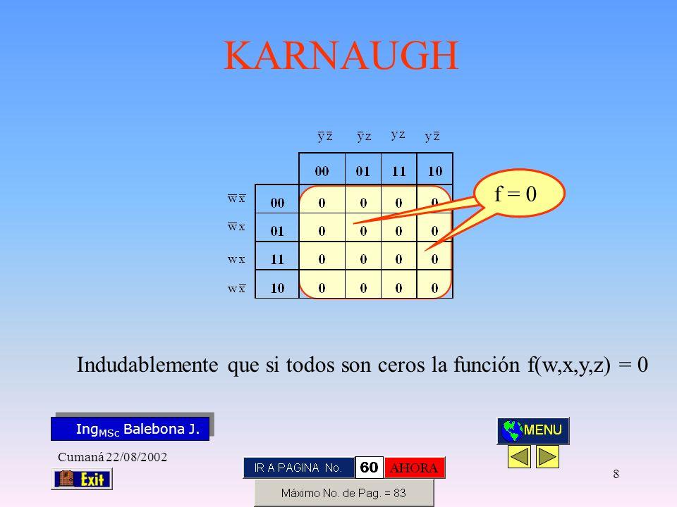 Ing MSc Balebona J. KARNAUGH Cumaná 22/08/2002 7 f(w,x,y,z)