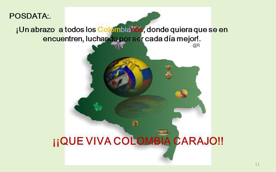 ORACION PATRIA: Colombia Patria Mía, te llevo con amor en mi corazón creo en tu destino y espero verte siempre grande, respetada y libre. En ti amo to