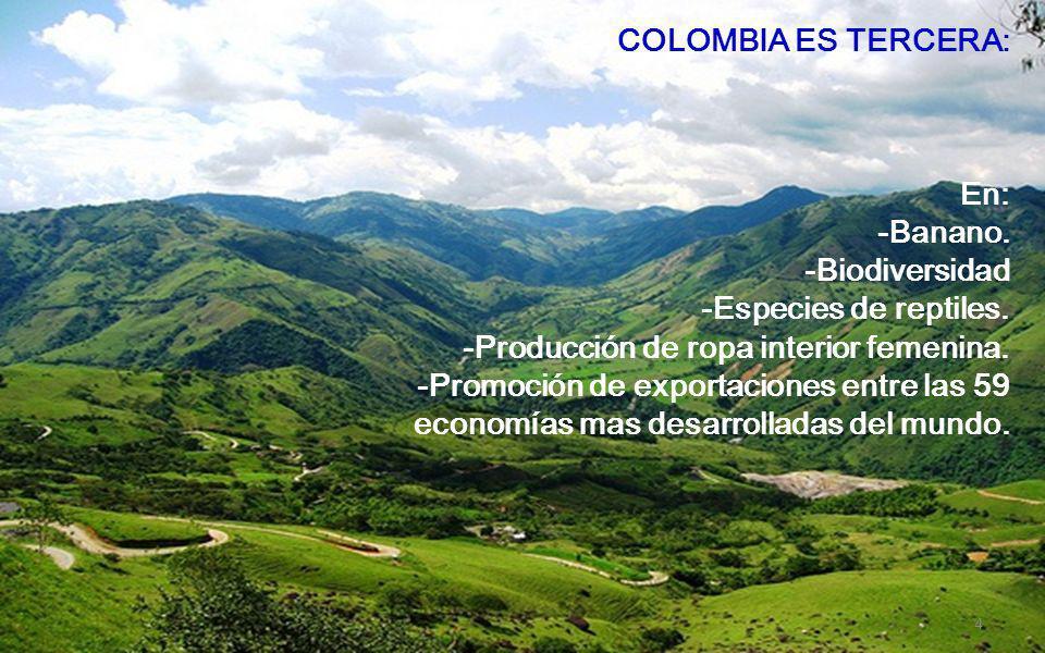 COLOMBIA ES SEGUNDA: En: *Producción de café. Pesca de agua dulce. Mariposas (300 familias y 14000 especies). Exportaciones de productos agrícolas de