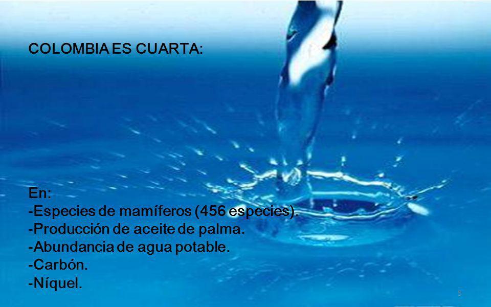 COLOMBIA ES TERCERA: En: -Banano. -Biodiversidad -Especies de reptiles. -Producción de ropa interior femenina. -Promoción de exportaciones entre las 5