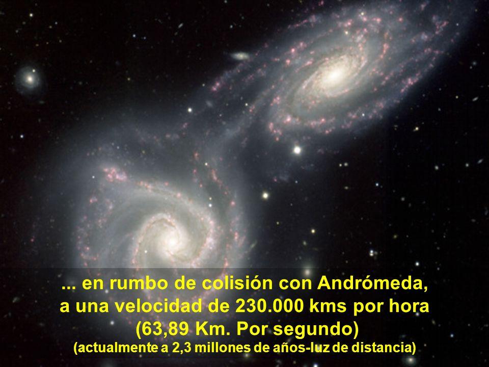 Y la Vía Láctea está suelta en el espacio, en el movimento de expansión del Universo.
