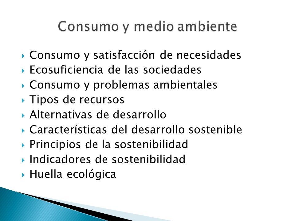 Consumo y satisfacción de necesidades Ecosuficiencia de las sociedades Consumo y problemas ambientales Tipos de recursos Alternativas de desarrollo Ca