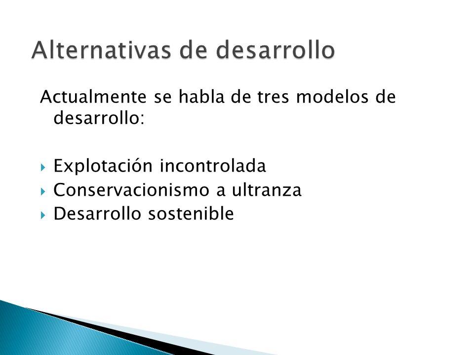 Actualmente se habla de tres modelos de desarrollo: Explotación incontrolada Conservacionismo a ultranza Desarrollo sostenible