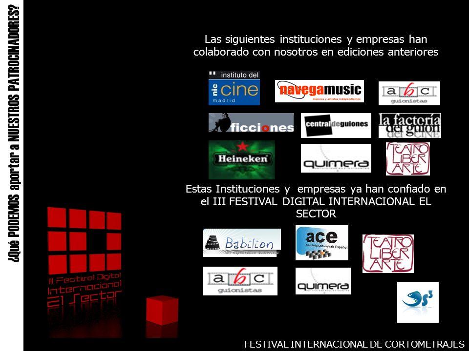FESTIVAL INTERNACIONAL DE CORTOMETRAJES ¿Qué PODEMOS aportar a NUESTROS PATROCINADORES.