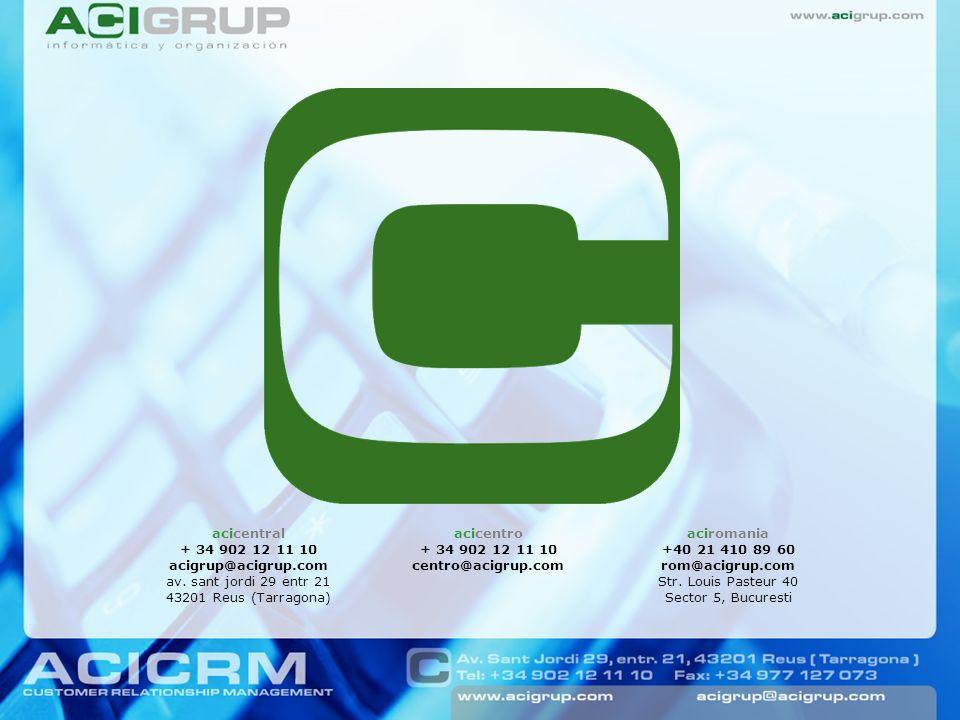 3. Publicación de las decisiones La aplicación ACICRM se conecta con ACIHOTEL en dos direcciones: importa los datos de todos los hoteles de la cadena,