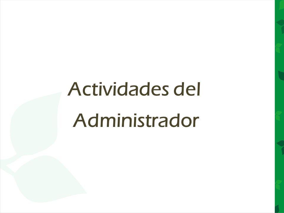 Actividades del Administrador