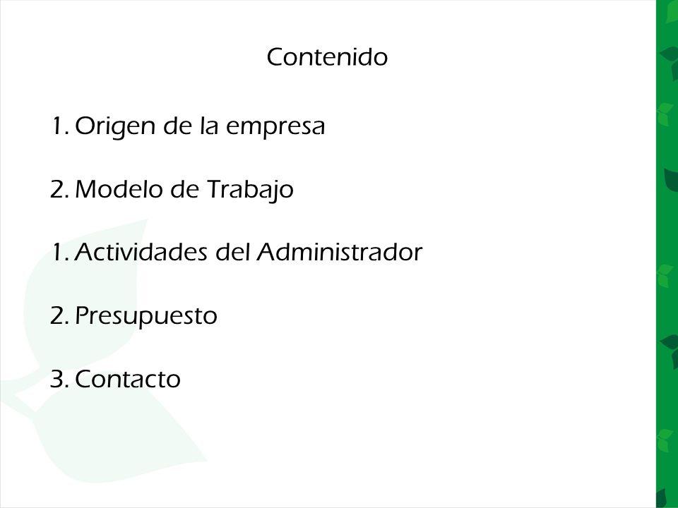 Contenido 1.Origen de la empresa 2.Modelo de Trabajo 1.Actividades del Administrador 2.Presupuesto 3.Contacto