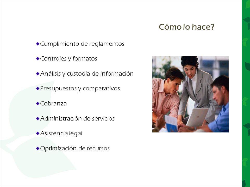 Cumplimiento de reglamentos Controles y formatos Análisis y custodia de Información Presupuestos y comparativos Cobranza Administración de servicios A