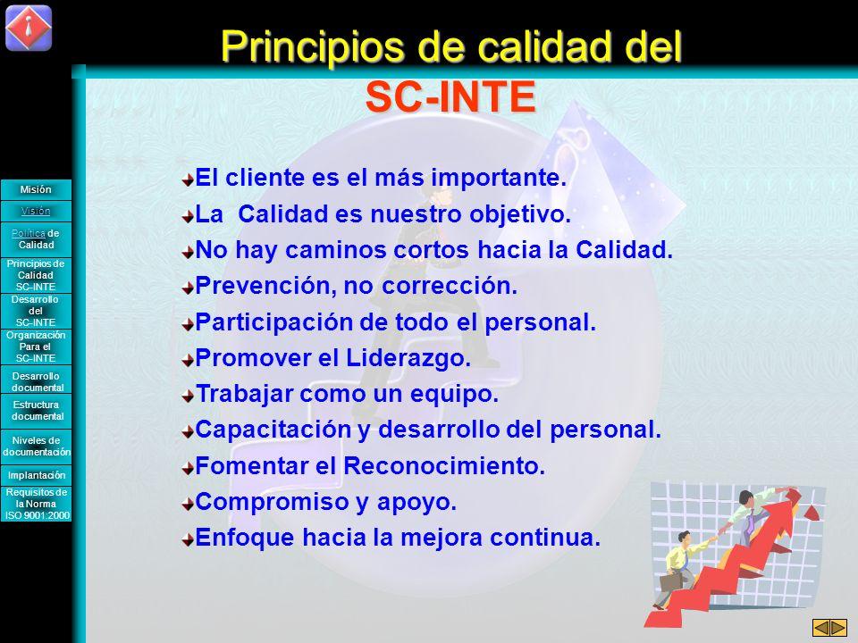 Política de Calidad En INTE, nos comprometemos a proporcionar servicios profesionales en el área de Sistemas de Cómputo, que satisfagan plenamente las necesidades y expectativas de nuestros clientes.